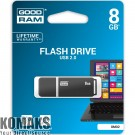USB flash memory GOODRAM UMO2 8 GB, USB 2.0, 480 Mbps, grey